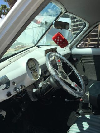 The inside of the newly restored vehicle.