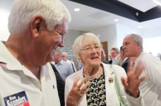 Clerk of the Court candidate Ron Saunders smiles with Monroe County Commissioner Sylvia Murphy.