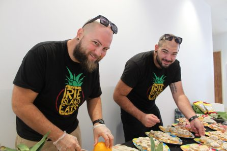 Chris Lordi and brother Mike of Irie Island Eats add to the treats. The spread also included contributions from Sweet Savannah's and Leigh Anne's.