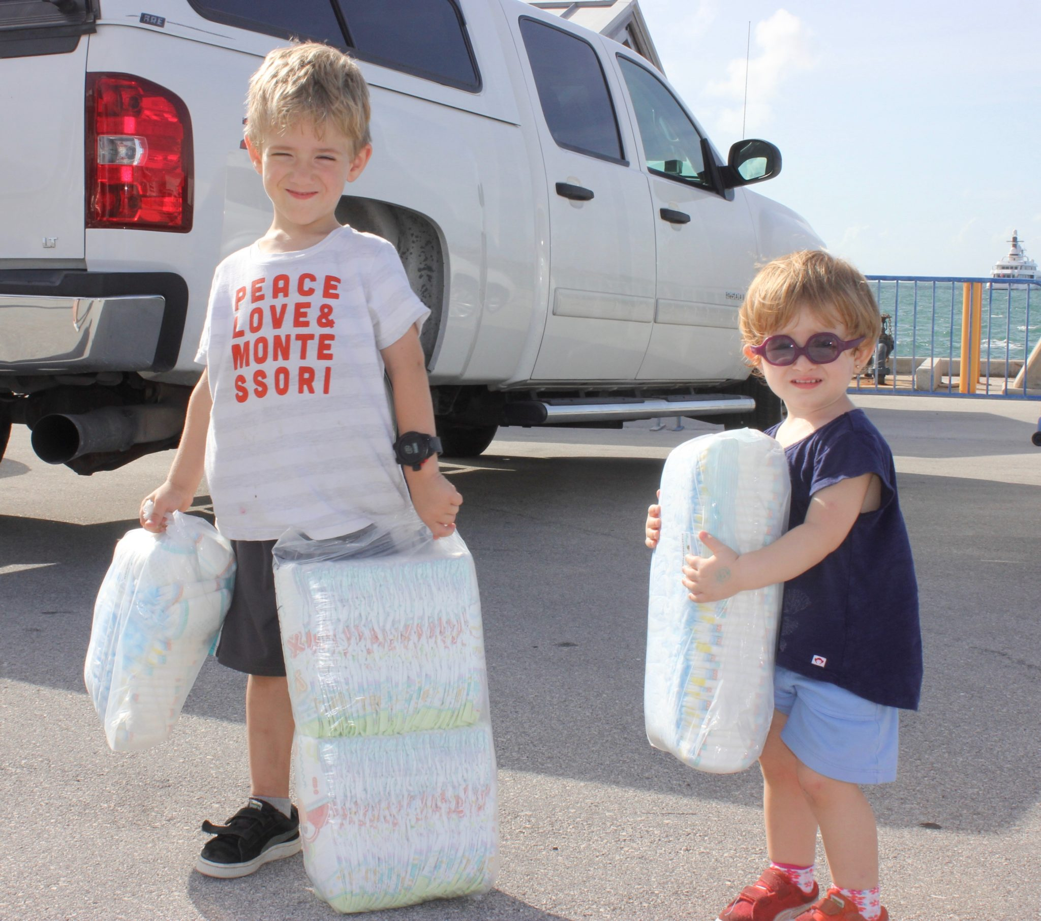 Garrison and Corson Campbell came with some extra diapers to donate.
