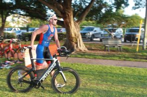 Barton Smith of Key West speeds out of transition in high-tech gear.
