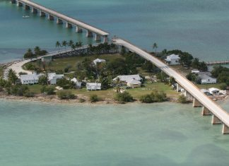 Pigeon Key is moving - A bridge over a body of water - Seven Mile Bridge