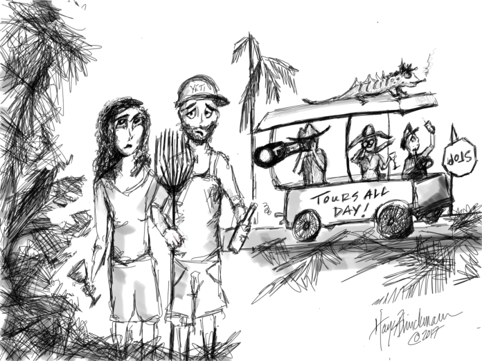 8 things to do before the tourists come back - A close up of text on a black background - Sketch