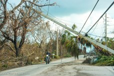 Downed utility poles are a common sight post Irma. Navigating the Keys means driving under many loose lines and teetering poles. The hundreds of poles pose a lengthy problem for workers trying to restore electricity and safety to Big Pine and the rest of the Lower Keys.