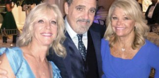 Guests of honor Julie and Jon Landau share a laugh with Lindy Roth, right, at the American Red Cross Gala.