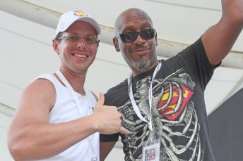 The two Dans — Samess, left, and Hill — guard the stage entrance at the Original Marathon Seafood Festival.
