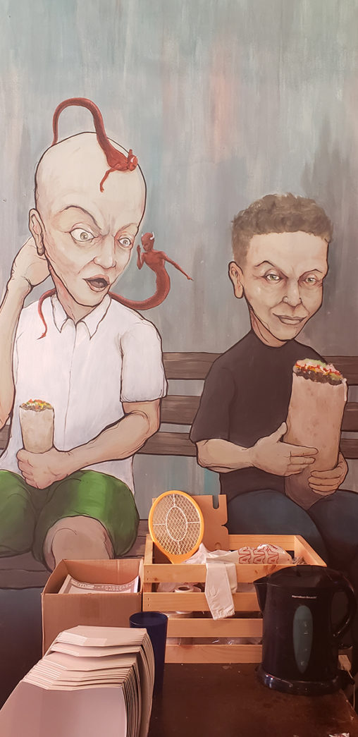 """Artist: Jack McDonald Sinz offers all you can eat tacos on Tuesday for a cool $15 or you can grab individual tacos at $2. Kenna says Eli can eat 10 to 12 tacos in one setting. """"He's a madman with tacos."""""""