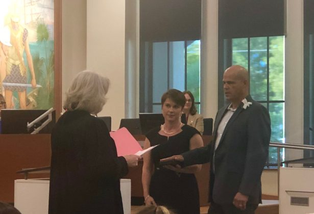 Teri Johnston is Officially Key West's Newest Mayor - A group of people standing in front of a window - Teri Johnston