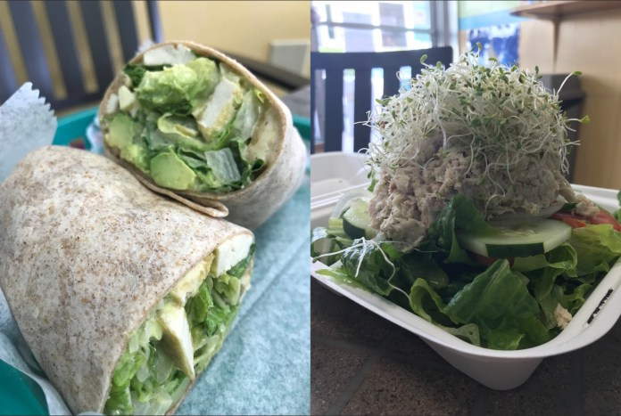 Eco Eats offers wraps, pitas and more - A plate of food with a sandwich and a salad - Vegetarian cuisine