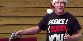 CLARK W. GRISWOLD: The Exclusive Holiday Interview ' - Chevy Chase holding a sign - Florida Keys