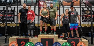 Local athletes conquer fitness competition - A group of people posing for the camera - Powerlifting