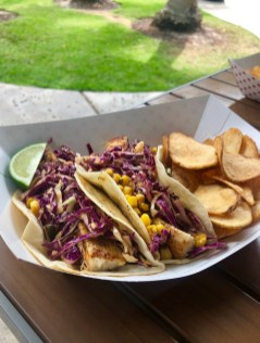 Local catch tacos, topped with roasted corn and shredded red cabbage. SARAH THOMAS/Keys Weekly