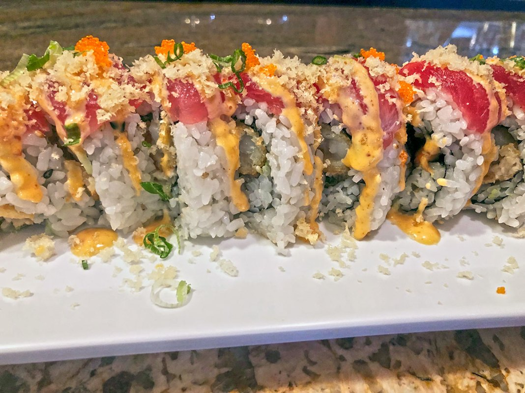 Keys Eats:  Miso Happy Will Make You Me-So Hungry - A close up of a plate of sushi - California roll