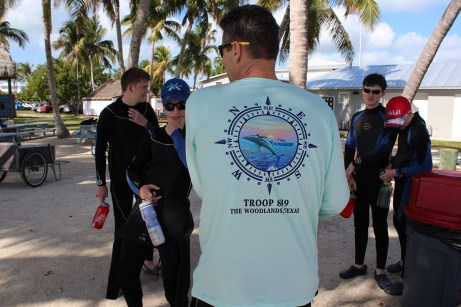 Troop 889 of Woodlands, Texas prepares for some diving instruction at the Florida Sea Base pool. JIM McCARTHY/Keys Weekly