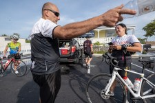 David Vargas, of Jasper, Florida, talks with Lissette Rodriguez, owner of All Keys Cycle.