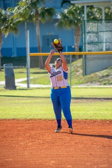 Marathon's Jocelyn Cruz fields an infield fly ball. BARRY GAUKEL/Keys Weekly