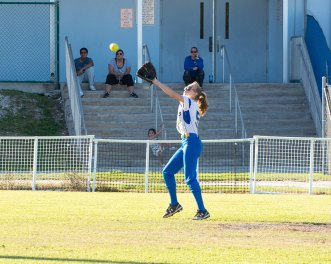 Autumn Dailey chases down a shot to center field. BARRY GAUKEL/Keys Weekly