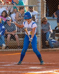 Aliyah Gonzalez pauses to ready herself at the plate. BARRY GAUKEL/Keys Weekly