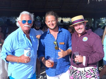Chris Gratton, left, Matt Sexton and Josh Gratton host the evening at Grassy Flats Resort.