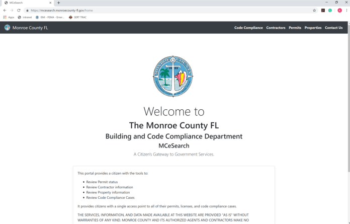 MONROE COUNTY BUILDING DEPARTMENT LAUNCHES NEW PERMIT, CONTRACTOR, AND CODE SEARCH INTERFACE - A screenshot of a social media post - Monroe County Building Department