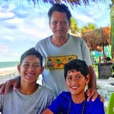 LUIS GUTIERREZ with children, Luke Gutierrez, 17, and Simon Gutierrez, 14.