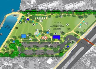 Updated Rowell's design unveiled - A close up of a map - Rowell's Waterfront Park