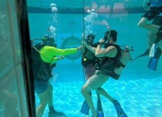 Certification through Sea Base a memorable experience - A person in a pool of water - Florida National High Adventure Sea Base, Boy Scouts of America