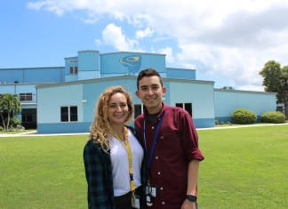 Brother, sister excited for first year at Key Largo - A man and a woman posing for a picture - Florida Keys