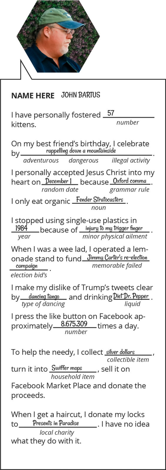 Local celebrities agree to play a round of Mad Libs
