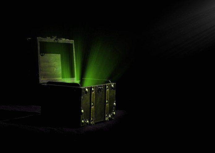 Treasure box with green light emitting
