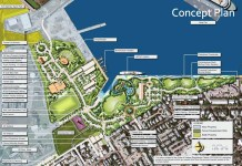 City wants its cut – Admiral's Cut access would connect waterfront - A close up of a map - Truman Waterfront Park Amphitheater