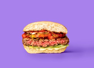 Not Your Mother's Veggie Burger – Meatless burger drives profits, aims to curb climate change and deforestation - A sandwich cut in half - Hamburger