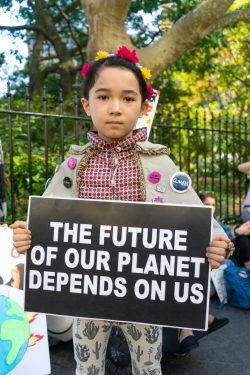 9-year-old Avery Tsai marches as often as possible in climate strikes in her hometown of New York City. TIFFANY DUONG/Keys Weekly