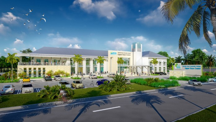 BUILDING, SUPPORTING AND EXCELING IN 2019 - A large building with a clock on the side of a road - College of the Florida Keys