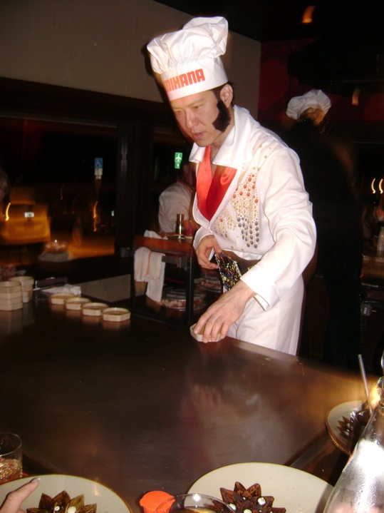 A little sauce for dipping, and some bell-bottom white polyester pants to inspire some hip swinging!  Matthew Reaub, manager of Rick's and Durty Hairy's, ain't nothin' but a hound dog fryin' at Benihana's