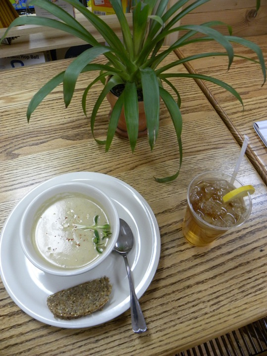 Feed your body and soul with a bowl of Creamy Cashew and Celery Soup while you sip on a fresh brewed Ginger and Mint Iced Tea