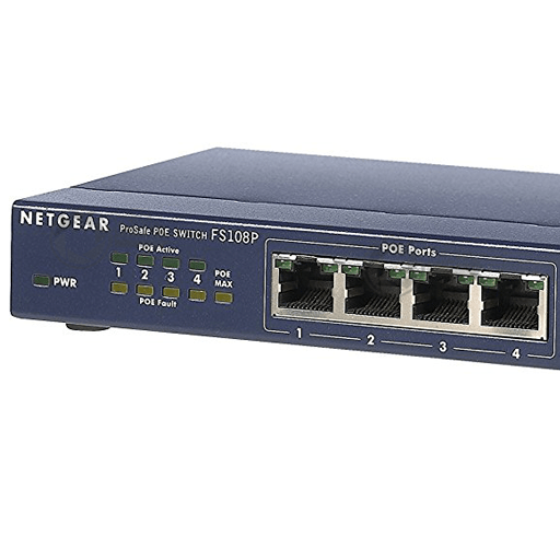 Unmanaged 8-port 10/100 4-port PoE Netgear ProSafe FS108Pv3 switch close up PoE ports