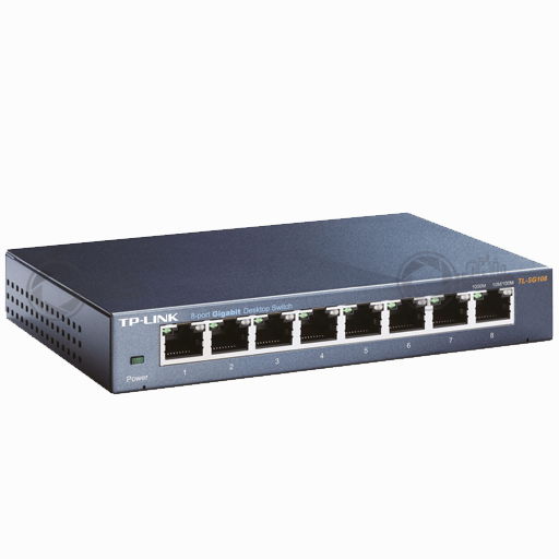 Unmanaged 8-port Gigabit switch TP-Link TL-SG108 front right