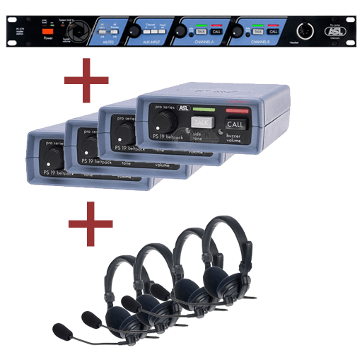 De ASL Intercom Set bestaat uit een Main Station, beltpacks en headsets