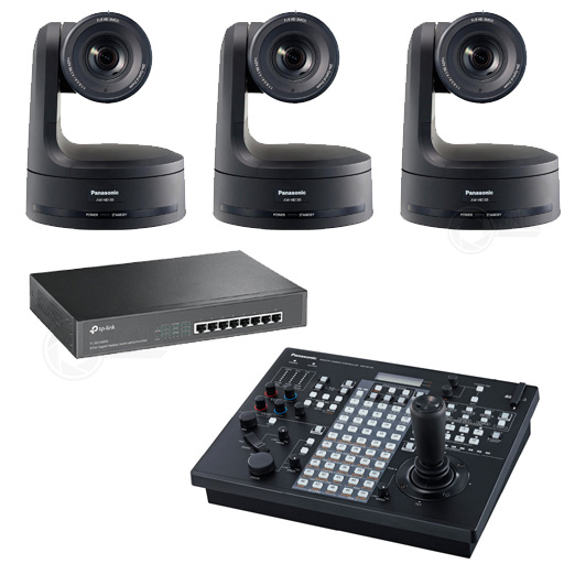 Complete set met 3 x HE130, RP120 en PoE+ switch