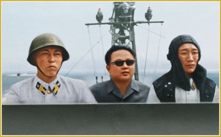 Kim Jong-Il infunde gran audacia y fe a los marineros (agosto de 1973).