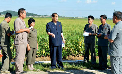 Pak Pong Ju visita granjas cooperativas.
