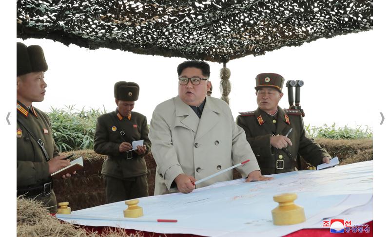 KIM JONG UN visita destacamento en la isla Changrin.