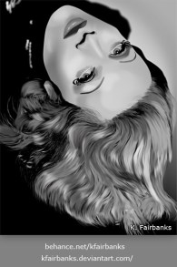 Marlene Dietrich digital drawing by K. Fairbanks