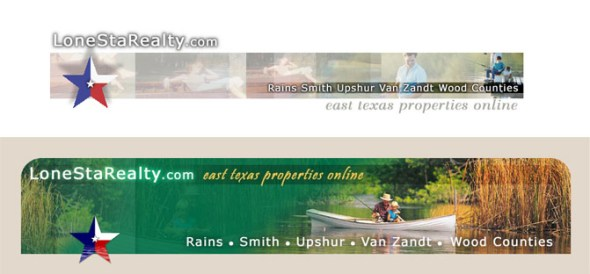 Web page banners for LoneStaRealty by K. Fairbanks