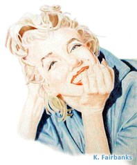 Marilyn Monroe color pencil drawing by K. Fairbanks