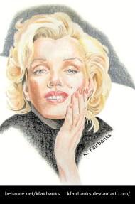 Marilyn Monroe portrait, pencil drawing, by K. Fairbanks