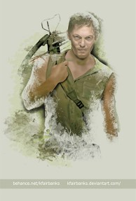 Norman Reedus as Daryl Dixon digital painting by K. Fairbanks