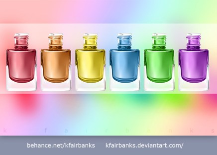 Nail Polish Bottles vector drawing by K. Fairbanks