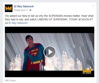 K. Fairbanks Superman fan art used by El Rey television network